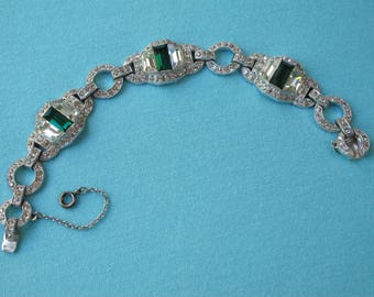 Superb Bracelet 1920s Art Deco Clear & Green Rhinestone Link Style Vintage Flapper Era Emerald Cut Crystals Silver Tone