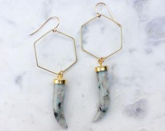 Brass Hexagon Earrings with Jasper Horns | Natural Stone Earrings