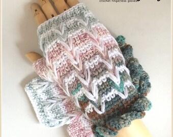 Pastel ZigZag Gloves - Fingerless Winter Gloves, Unisex Gloves - (M/L)