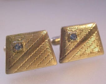XMAS in JULY SALE Mens Retro Silver Tone Blue Stone Cuff Links Vintage Jewelry Jewellery
