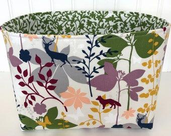 Organizer Fabric Basket,Bin,Woodland Nursery Decor,Storage Bin,Bucks,Stag,Home Decor,Gray,Grey,Navy Blue,Green,Woodland Forest,Deer,Wolves