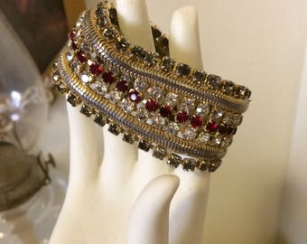 Vintage 1950s STunning Signed HOBE Clear Red Rhinestones  Gold Tone Flexible Old Hollywood Ladies Bracelet Gift For Her