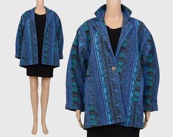 Vintage 80s Tribal Striped Jacket | Artsy Abstract Print Jacket | Oversize Jean Jacket | Boho Denim Jacket | Blue Green | Small Medium S M