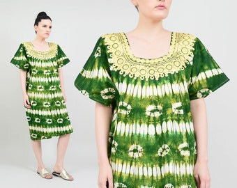 Tie Dye Dress | 70s Embroidered Dress Green Tye Dye Dress | Boho Hippie Caftan | Short Sleeve Ethnic Festival Midi Kaftan | Large L