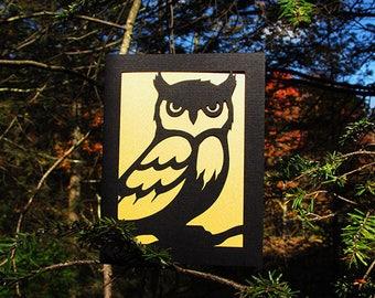 Owl Art Card Gold & Black Silhouette Cut Paper Bird Art