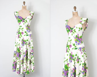 1980s betsey johnson dress / bodycon floral dress / 80s floral dress  / small medium s m