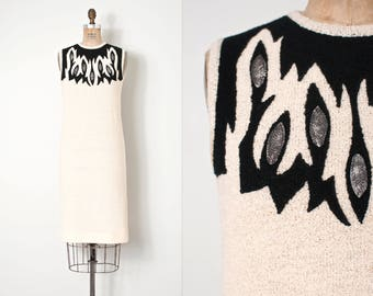 vintage 1960s dress |  60s sleeveless sweater dress | boucle knit dress (medium m)