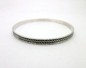 Danecraft Bangle Bracelet Vintage Sterling Silver Great Modern Rope Design with Texture