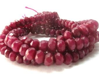 Ruby Jade Faceted Rondelle Gemstone Beads (6mm) - Gemstones