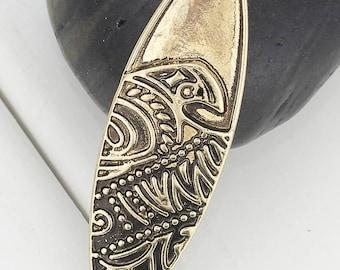Antique Bronze Wave Pendant (42mm)