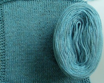 BLUE SILK HEATHER -- Sport Weight -- Silk/Cotton/Merino yarn (100 gr /320 yards)
