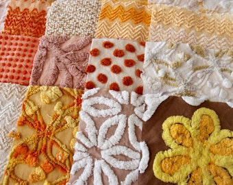 Vintage Chenille Fabric Quilt Squares - 25 - 6 inch squares, mocha/tan, orange, gold, all different - 500-291