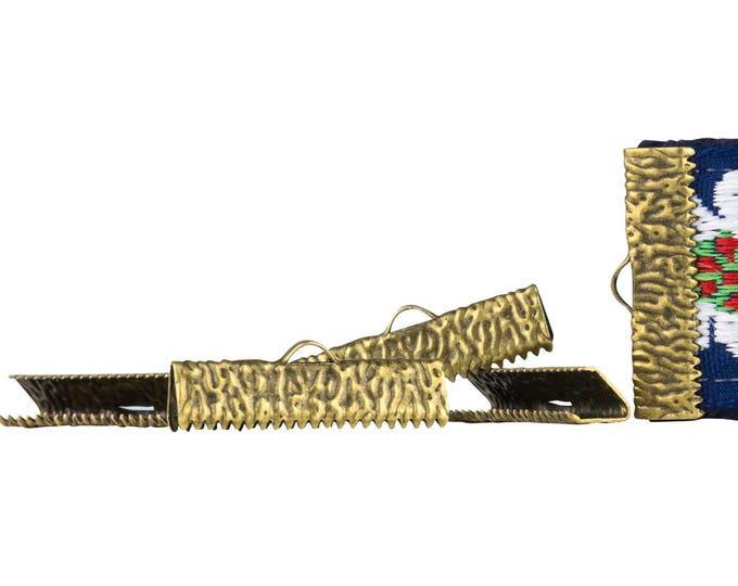 500pcs.  25mm (1 inch)  Antique Bronze Ribbon Clamp End Crimps - Artisan Series