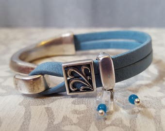 Light Blue Leather and Silver Bracelet