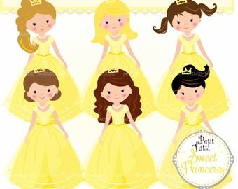ON SALE Princess Clipart // Belle Princess Clipart. Fairytale Princess Clipart,Fairy Tale Princess Clipart,Yelllow Birthday
