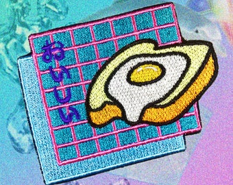 Oishī Toast Eggi Patch , Vaporwave Patch, Iron On patch, Embroidered Patches, Customize Denim