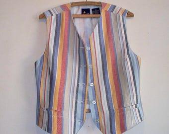 1980s/90s lizport linen southwestern striped vest vest