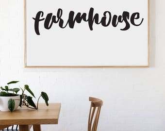Farmhouse Farmhouse Style Decal 8x34 saying Chunky Script Decor Vinyl Wall Decal Graphic