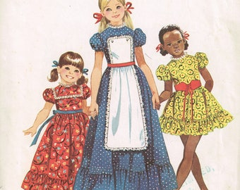 70s Pioneer Dress Pattern Simplicity 8732 Size 4 Child's Dress With Ruffle Puff Sleeves and Button on Apron Vintage 1971 Sewing Pattern