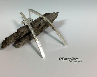 Long Bar Silver Stud Earrings, Curved Bar Earring Studs, Silver Earrings, Long Earrings, Handmade by RiverGum Jewellery