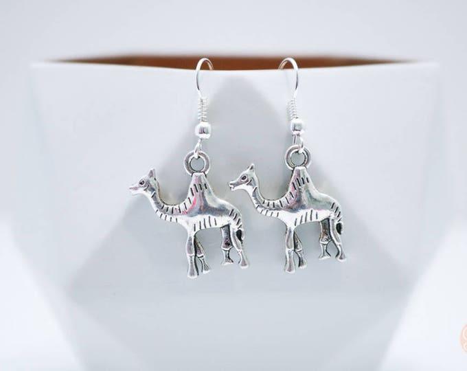 Desert Camel Silver Drop Earrings.