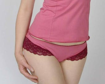 organic cotton panties with lace trim - CAROUSEL lingerie range - ready to ship - sale - XL