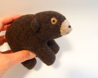 toy bear, waldorf bear, realistic bear, child toy, stuffed bear, stuffed animal, waldorf animal, wool felt animal
