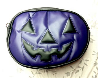 Purple Jack-o-lantern Pumpkin Purse - Halloween - Creepy Accessory - Vinyl Purse