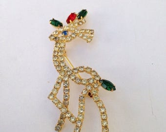SALE Vintage gold, red, and green jeweled reindeer brooch pin. Holiday jewelry.