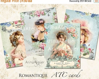 SALE - 30%OFF - Romantique - ATC Cards - Digital Tags - Digital Download Sheet - Shabby chic cards