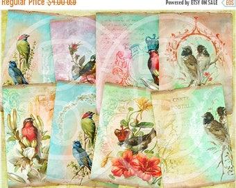 SALE - 30%OFF - Oh Birds  ATC Cards, Vintage Tags