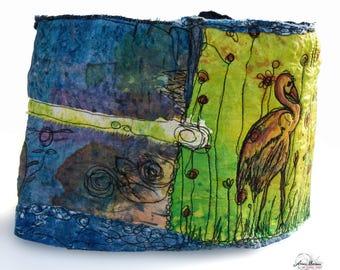 Luxury Nuno Felt Infinity Scarf - Handpainted Silk Merino Wool - Blue Green Yellow