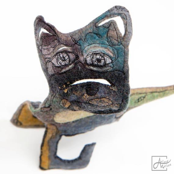 Original Textile Art Dog Sculpture - 3D fiber art Dog - Self standing sculptural felt critter - Unique collectors art work  - Paris made art