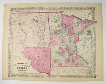 South Dakota Map Etsy - Map of sd
