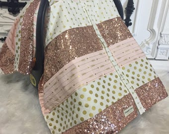 car seat cover , car seat canopy , ooak , patchwork , STUNNING gold sparkle