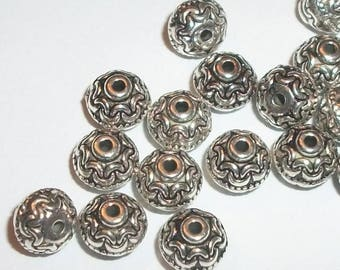 Antique silver pewter 7mm x 6mm pattern carved round beaded shaped spacer beads -- 50 pieces  (45112)