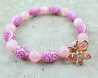 SALE 50% off Crystal Butterfly Bracelet, Pink Beaded Bracelet, Pink Bracelet, Vintage Beaded Bracelet, Stacking Bracelet, Gift for Teen