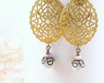 Gold Filigree Earrings, Dangle Earrings, Aquamarine Earrings, Gemstone Earrings, Blue Beaded Earrings, Statement Earrings