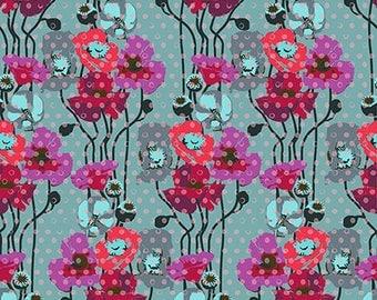 1 yard - Raindrops poppies in plum by Anna Maria Horner, Free Sprit Fabrics