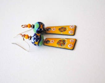 Artisan Enamel Earrings, Yellow Daisy Earrings, Flower Earrings, Lampwork Glass Bead Earrings, Colorful Earrings, OOAK