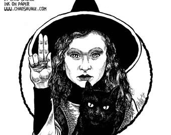 Halloween Saints Series 2: Dani & Binx Original Ink Art