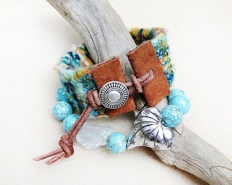 Hand Loomed Bracelet, Bead and Fiber, Leather, Button Closure, Turquoise, Woven, Bamboo Yarn, Cuff, Adjustable, Tucson Sunset, Gift for Her