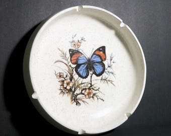 Vintage Pottery Craft Round Ashtray with Butterfly & Flowers / Mid Century Made In USA Butterfly Ashtray / Big Round MCM Ashtray Butterfly