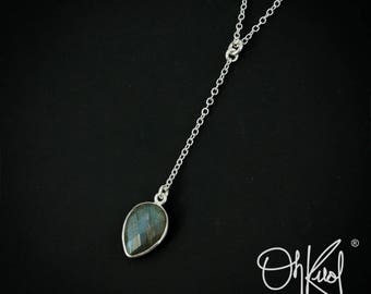 Silver Blue Labradorite Drop Necklace - Pear Cut Labradorite Pendant - 925 Silver