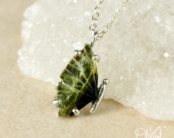 Green Tourmaline Butterfly Wing - Single Wing - Choose Your Setting