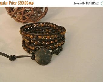 SALE 60% OFF Zahra Tiger Eye  Beaded Leather Wrap Bracelet