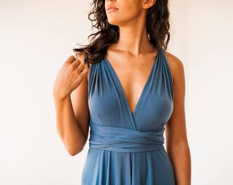 SALE 20% OFF Indigo blue infinity dress, short blue dress, short multiway dress, blue knee length dress, denim blue dress, blue short dress