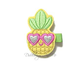 Pineapple With Sunglasses Hair Clip, Tropical Hair Clip, Girls Pineapple Hair Clip, Beach Hair Clip, Felt Hair Clips, Toddler Hair Clips,