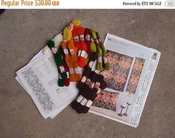 SALE SALE SALE Vintage Crewel Embroidery Needlepoint Stitchery Kit Do It Yourself Bell Pull Folk Art Brown Orange Green Scandinavian Craftin