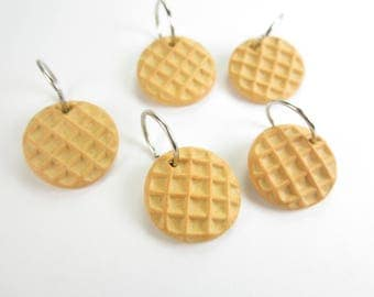 Waffle stitch markers, Stranger Things gift, food charm, waffle charm, waffles miniature food polymer clay knitting accessories knit kintter